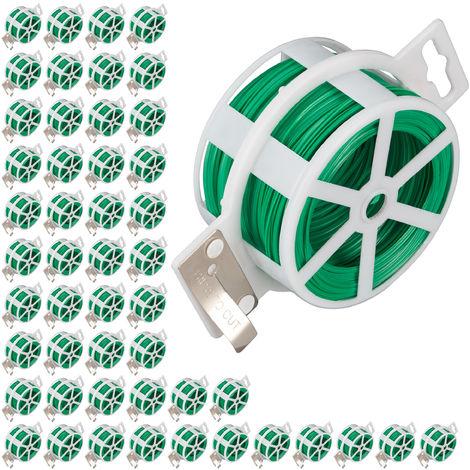 Set de 50 carretes de alambre, Alambre para atar plastificado, Bobina con cortador, Inoxidable, 50m, Verde