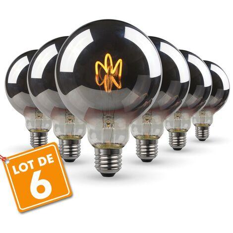 Set de 6 bombillas LED E27 G95 Smoky Vintage Deco Filamento