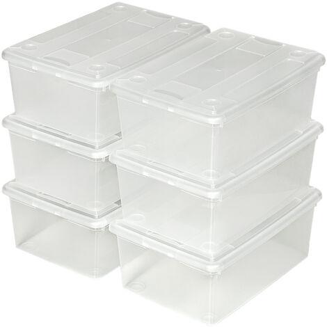 Set de 6 cajas de almacenaje 33x23x12cm - cajas organizadoras con tapa, pack de cajas apilables para ordenar ropa y calzado, contenedor transparente para zapatos - transparente