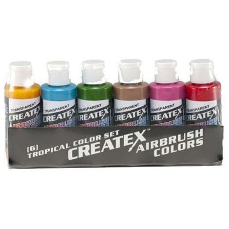 Set de 6 Pots de Peinture Créatex Tropical Transparent 60 ml