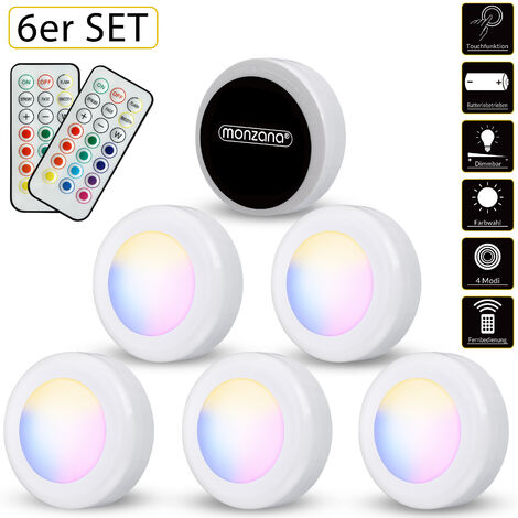 Set de 6 spots lampes LED Éclairage sous meuble Modèle blanc ou multicolore Maison cuisine meuble