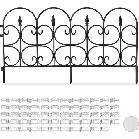 Set de 60 vallas decorativas para jardín, Altura de 30cm, Longitud de 40m, Negro