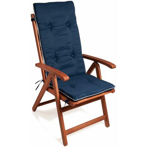 Set de 6x Coussins de chaise avec dossier Attaches incluses Rembourrage épais 5cm Jardin maison intérieur extérieur