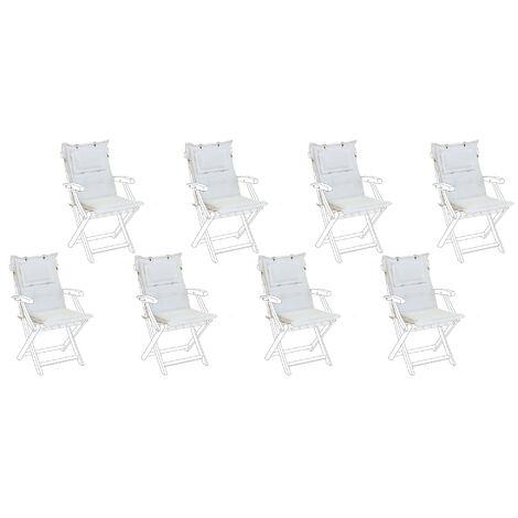 Set de 8 coussins en tissu blanc cassé pour chaises de jardin MAUI