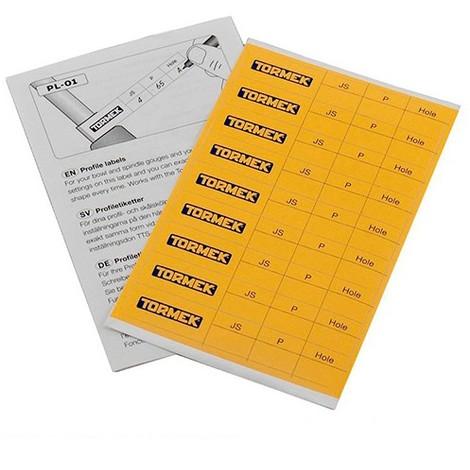 Set de 9 étiquettes mémo profil pour l'affûtage de vos outils - Tormek - PL-01 - -
