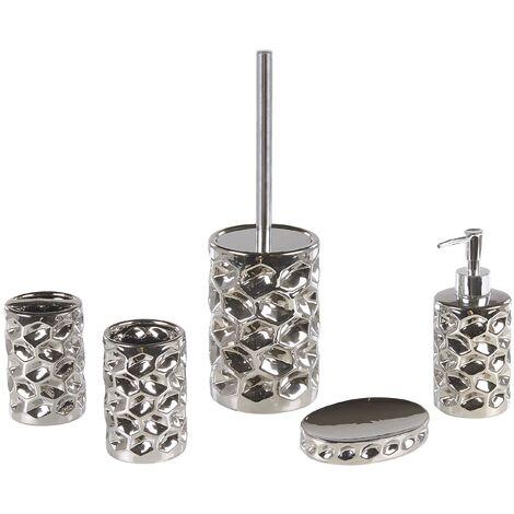 Set de accesorios de baño 5 piezas plateado TIRUA