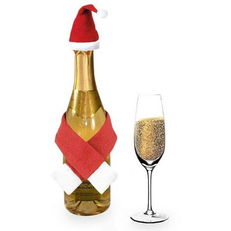 Set de Adornos de Papá Noel para Botellas (2 pcs) 144261 Color - Rojo