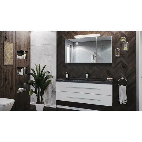 Set de baño Damo 130 Armario de espejos & granito India Black 1 agujero Blanco