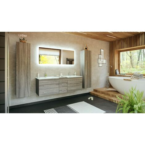 Set de baño Vitro XL 4U incl. lavabos cristal, espejo LED Roble plateado