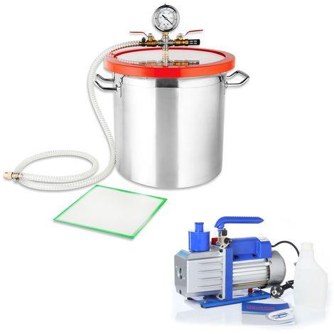SET de Bomba de vacío Indicador de baja presión 100 l/min + 21,4L Aluminio Compresor Bomba industrial A/C medidor