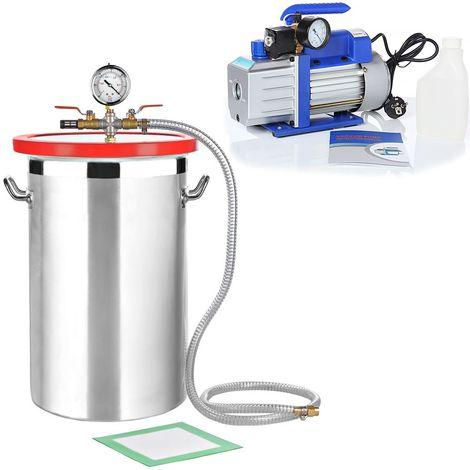 SET de Bomba de vacío Indicador de baja presión 27,7L 71 l/min Aluminio Compresor Bomba industrial A/C medidor
