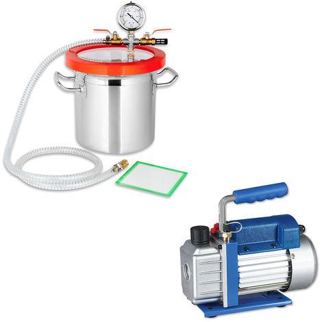 Set de Bomba de vacío Indicador de baja presión 50 l/min + Cámara de desgasificación Compresor Bomba industrial A/C medidor