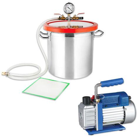 SET de Bomba de vacío Indicador de baja presión 50 l/min + Cámara de vacío 21,4L Compresor Bomba industrial A/C medidor