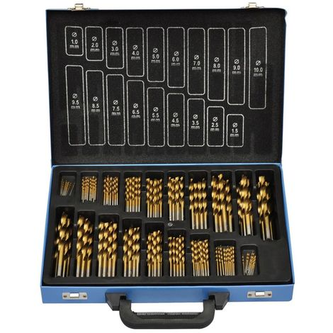Set De Brocas En Caja Metal (170 Piezas) HSS TI (Chapadas En Titanio) (no se puede enviar a Baleares)