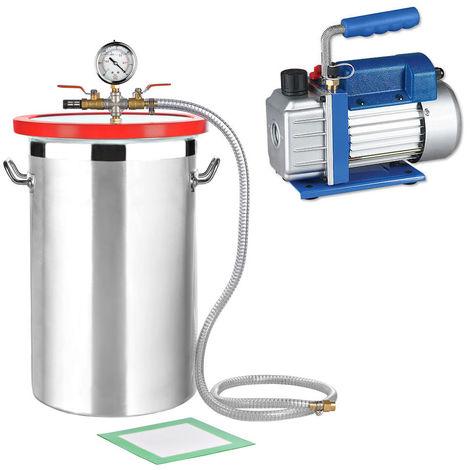 SET de Cámara de vacío 27,7L + Bomba de vacío 50 l/min Indicador de baja presión Compresor Bomba industrial A/C medidor