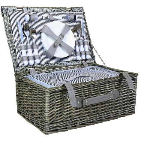 Set de cesta de mimbre para picnic - 4 personas - Forro a rayas