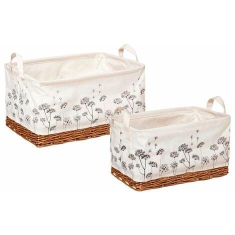 Set de cestas de mimbre con estampado de flores 2uds.