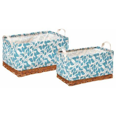 Set de cestas de mimbre con estampado de hojas azules 2uds.