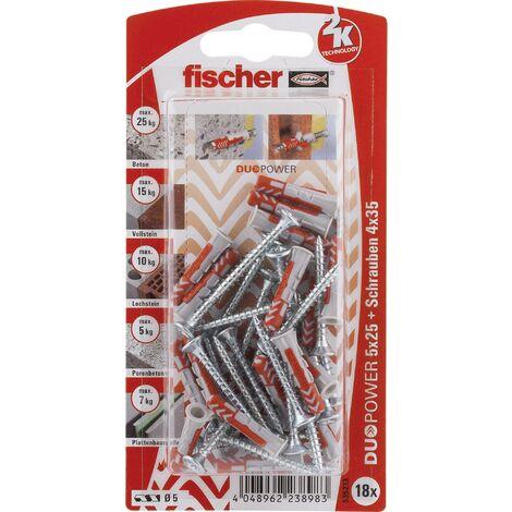 Set de chevilles 25 mm Fischer DUOPOWER 535213 1 set W079861
