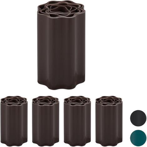 Set de cinco delimitadores de jardín, Bordes flexibles para césped, Plástico, Marrón, 20 x 900 cm