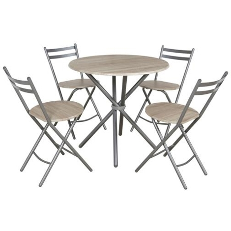 Set de cocina mesa con 4 sillas plegables