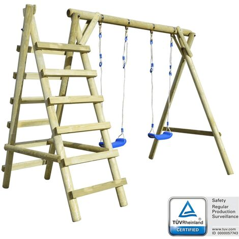 Set de columpios con escaleras 268x154x210cm madera de pino FSC