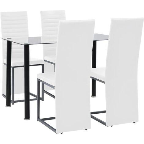 Set de comedor 5 piezas acero y vidrio templado blanco y negro