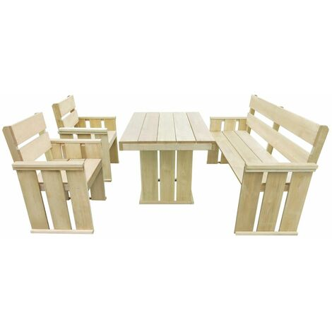 Set de comedor de jardin 4 piezas madera de pino impregnada