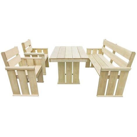 Set de comedor de jardín 4 piezas madera de pino impregnada - Marrón