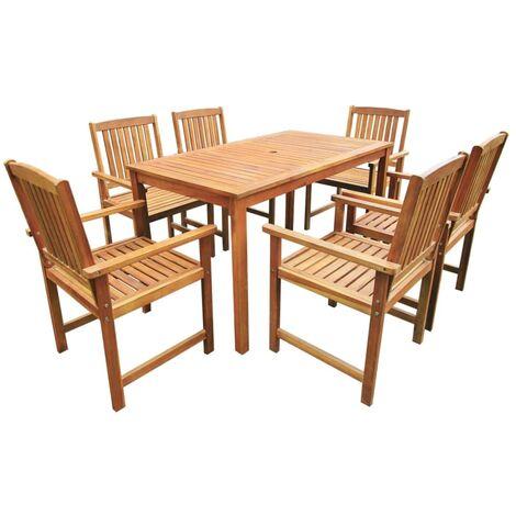 Set de comedor de jardín 7 piezas madera maciza de acacia