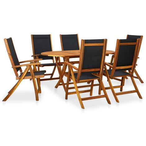 Set de comedor de jardin 7 piezas madera maciza de acacia