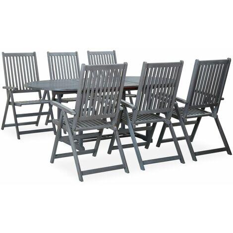 Set de comedor de jardín 7 piezas madera maciza de acacia gris