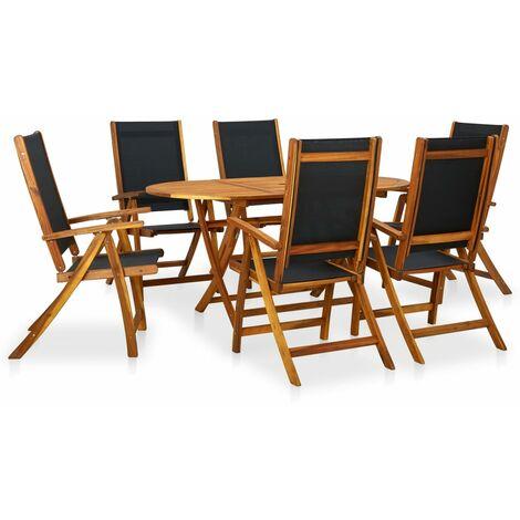 Set de comedor de jardín 7 piezas madera maciza de acacia - Marrón