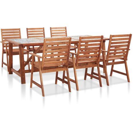 Set de comedor jardín 7 pzas madera acacia superficie azulejos