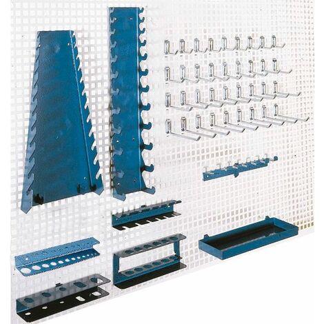 Set de crochets et suspensions pour panneaux muraux perforés Heco HE145201BL