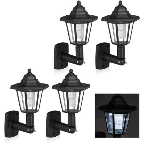 Set de cuatro farolas solares LED, Lámparas de exterior, Ahorra energía, Impermeable, Negro