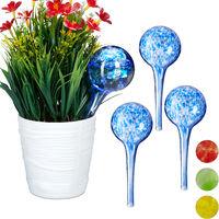 Set de cuatro globos de riego, Sistema de riego para plantas, Vacaciones, Ø 6cm, Azul, Vidrio