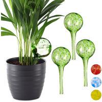 Set de cuatro globos de riego, Sistema de riego para plantas, Vacaciones, Ø 6cm, Verde, Vidrio