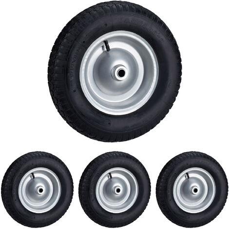 Set de cuatro ruedas de carretilla, 4.80 4.00-8, Capacidad de 120kg, Neumáticos de goma con llanta de acero, Negro-gris