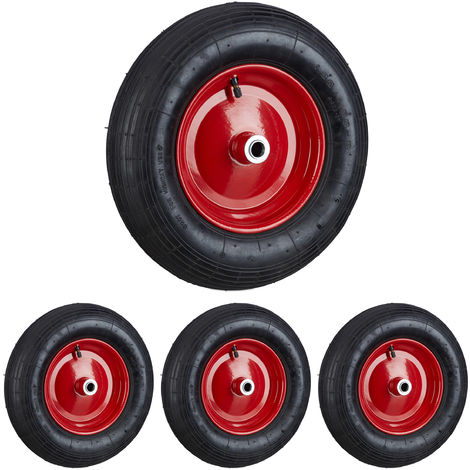 Set de cuatro ruedas de carretilla, 4.80 4.00-8, Capacidad de 120kg, Neumáticos de goma con válvula, Negro-rojo