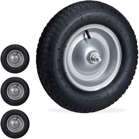 Set de cuatro ruedas de carretilla, Neumáticos de recambio con eje, Llanta de acero, 120 kg, Negro