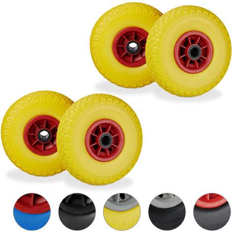 """Set de cuatro ruedas de carretilla, Resistente a golpes, 3.00-4"""", Eje 25mm, Hasta 80 kg, 260x85 mm, Amarillo-rojo"""