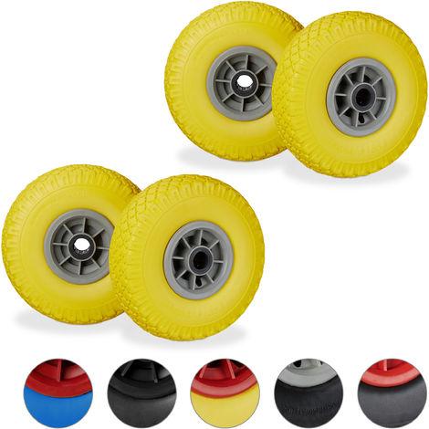 """Set de cuatro ruedas de carretilla, Resistente a golpes, 3.00-4"""", Eje 25mm, Hasta 80 kg, 260x85 mm, Amarillo y gris"""