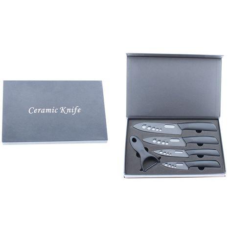 Set de cuchillos chef de cerámica y pelador de cocina negro con funda protectora