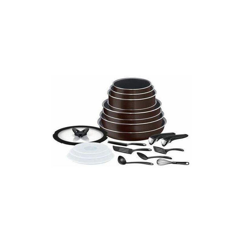 Set de cuisine Tefal Ingenio Essential 20 pièces Noir café pailleté batterie de cuisine