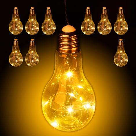Set de diez bombillas LED decorativa, Colgante, Iluminación a pilas, Inalámbrica, Transparente