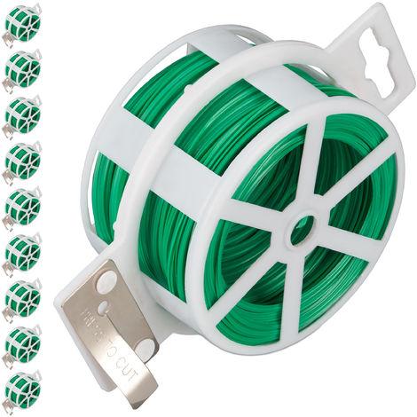Set de diez carretes de alambre, Alambre para atar plastificado, Bobina con cortador, Inoxidable, 50m, Verde