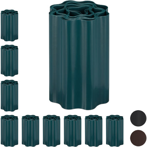 Set de diez delimitadores de jardín, Bordes flexibles para césped, Plástico, Verde, 20 x 900 cm