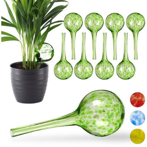 Set de diez globos de riego, Sistema de riego para plantas, Vacaciones, Ø 6cm, Verde, Vidrio