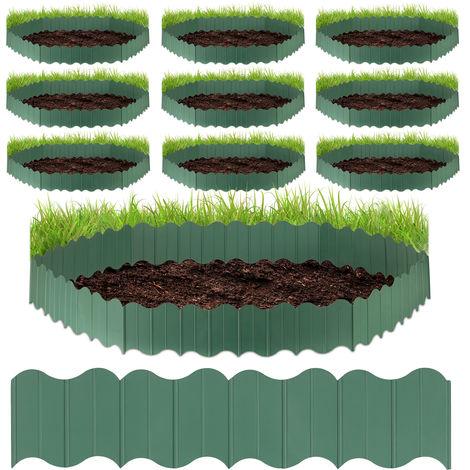 Set de diez vallas para jardín, 60 delimitadores para césped, Para fijar en el suelo, Verde